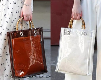 3af84937c0c5 Fashion Designer Vintage Style Clear Transparent Bamboo Handbag Casual Tote  Women PVC High Quality Bags Handbags