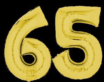 65th Birthday Balloon 65 Balloons Set Number Gold Silver Rose Jumbo Numbers 16inch