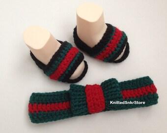 67d4ccceb Crochet baby set Crochet headband knitted Turban fashion Crochet slides  Crochet Flip Flop Crochet headband booties set Headwrap ear warmer