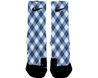 NORTH CAROLINA ARGYLE Custom Nike Elite Socks, All Shoe Sizes, Perfect Funny Gift, Cute Gift, HoopSwagg