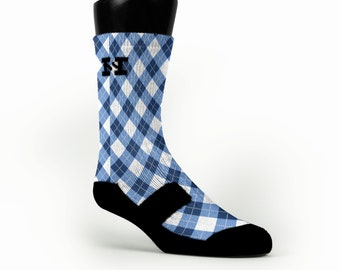 NORTH CAROLINA ARGYLE HoopSwagg Customized Socks, All Shoe Sizes, Perfect Funny Gift, Cute Gift,
