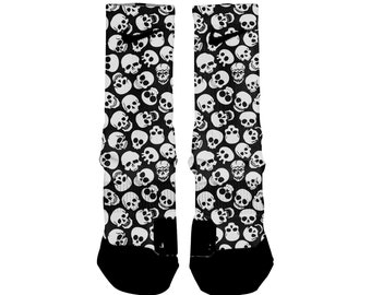 43ef9028e BLACK SKULLS Custom Nike Elite Socks