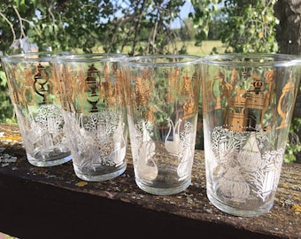 New Item NOS Vintage Federal Glassware-New in Original Box-11oz Drinking Glasses-Set of 4-Clear Glass W Green /& Gold Barware...Reshopgoods