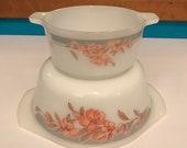 Set of 2 Indopal Salmon Pink Floral Print 2 Casserole Dishes Retro Indonesia Vintage Milk Glass