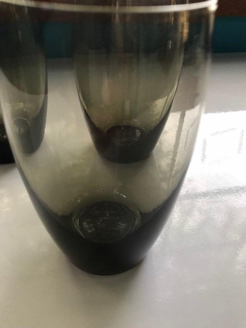 Vintage smoked green juice water glasses set of 3