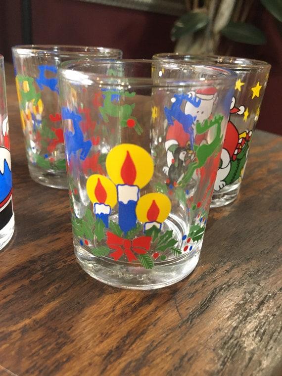 8 Christmas Xmas Juice Glasses Christmas Scenes Santa Claus Etsy