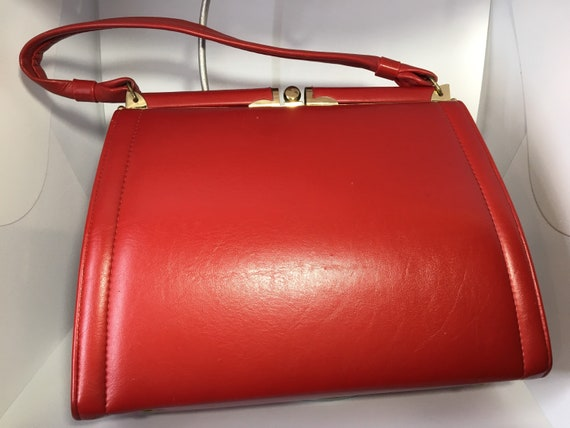 Red Vinyl Purse, Made in Canada by JR, Vintage, Le