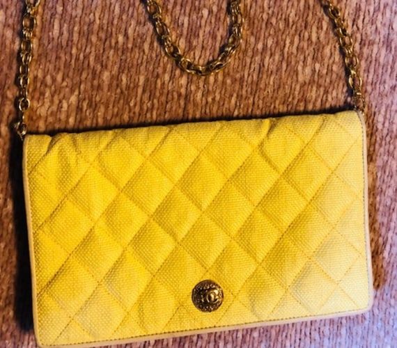Chanel Vintage Rare Yellow Straw Shoulder Bag
