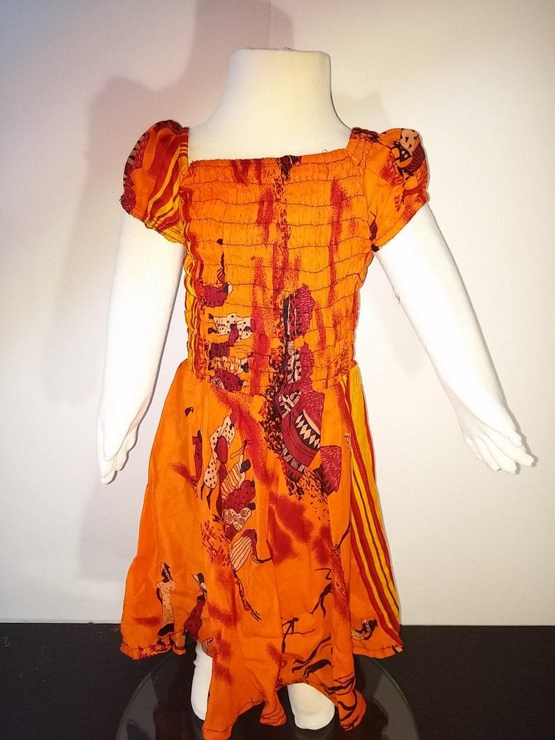 African village pattern orange dresses