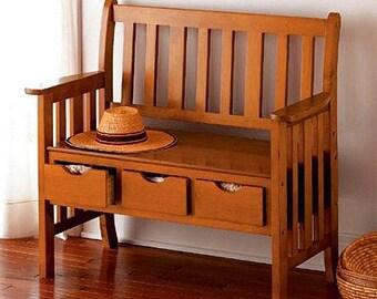 BrayLuke Mission Craftsman 3 Drawer Oak Storage Bench