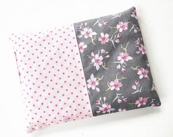 Cherry seed pillow, heat pillow, dots, cherry blossoms
