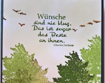 Greeting card with trees and Vogleschar