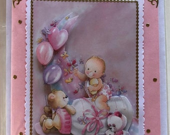 Greeting card for birth in 3D technology with baby