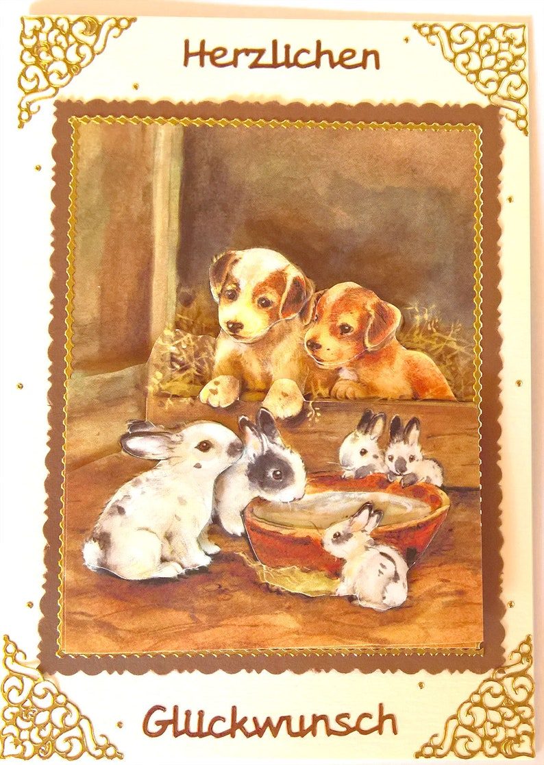 Birthday Card dog puppies and rabbit family image 0