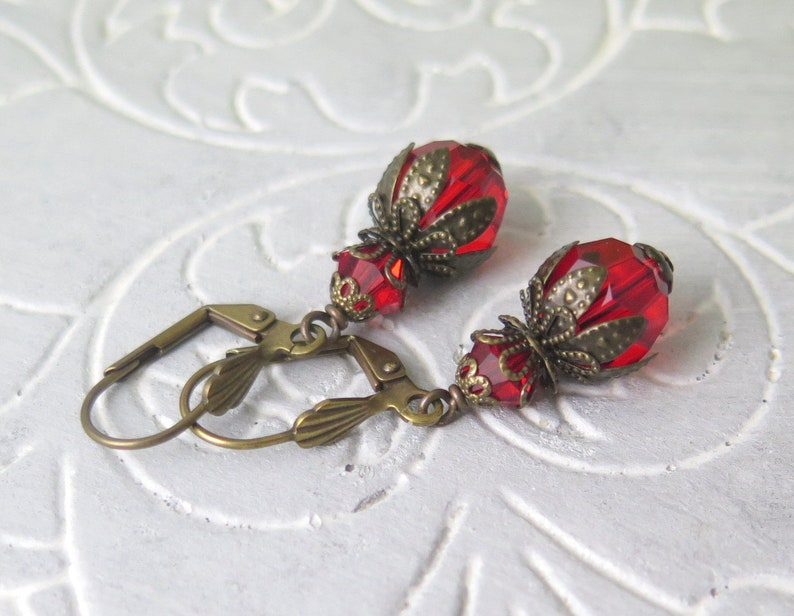 Red Crystal Earrings Antique Style