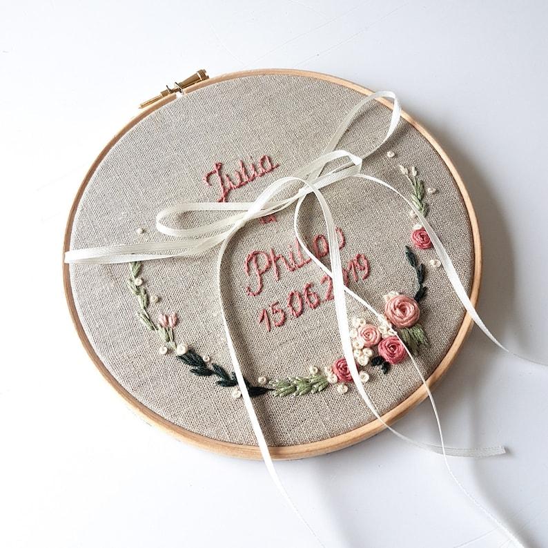 Stickbild Stickrahmen Ringkissen Blumenranke 17cm image 0
