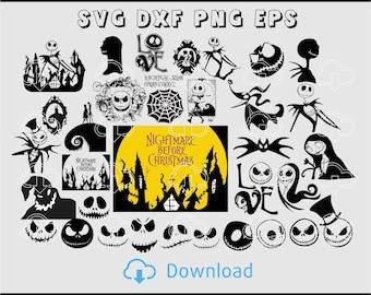 Nightmare Before Christmas Bundle 34, Nightmare Before Christmas SVG, Nightmare SVG, Jack Skellington, Jack Skellington DXF.