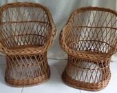 Vintage couple kids wicker chair 30s