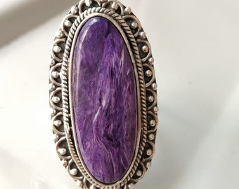 Natural Silk Charoite Ring Violet Ring Rough Charoite Oval Purple Ring with Raw Charoite from Siberia Rare Rough Charoite Stone Ring