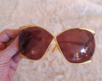 f60be2198b5 Vintage CHRISTIAN DIOR SUNGLASSES Gold Butterfly Frame 2056 41 Made In  Austria