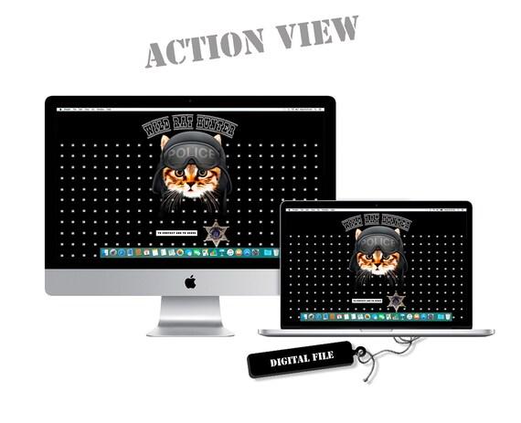 Police Cat Desktop 1920x1080 Pc Wallpaper Display Fullhd Digital Pc Decor Instant Download
