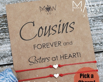 Cousin Gifts Friendship Bracelet Heart Anklet Gift For Her Birthday Distance Wish