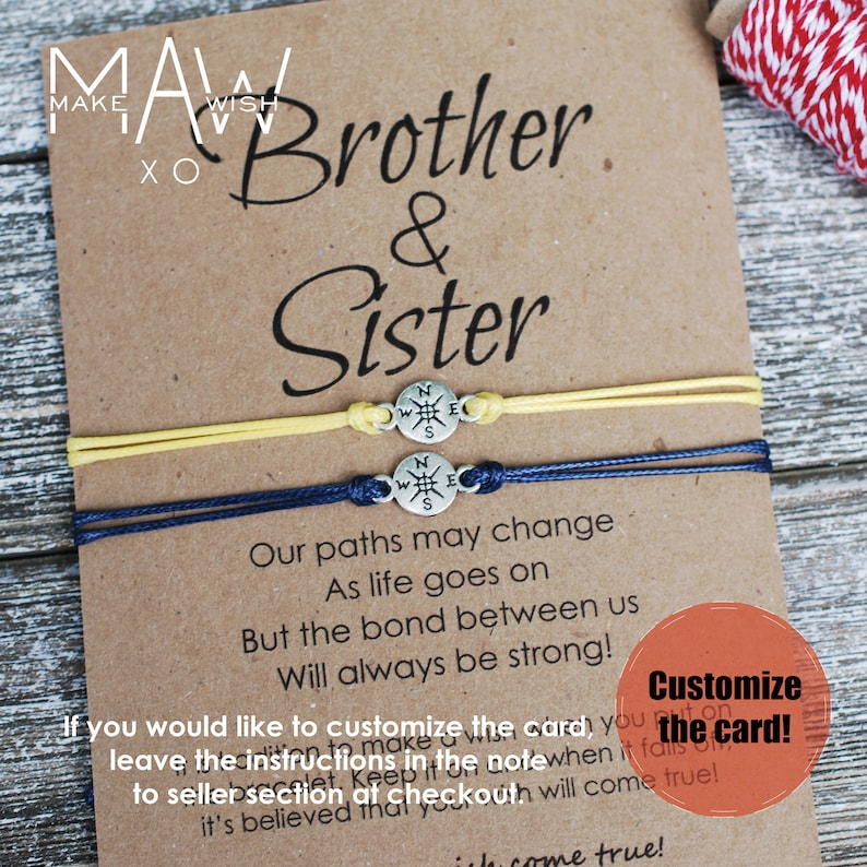 Brother Sister Gift Matching Friendship Bracelet Personalized
