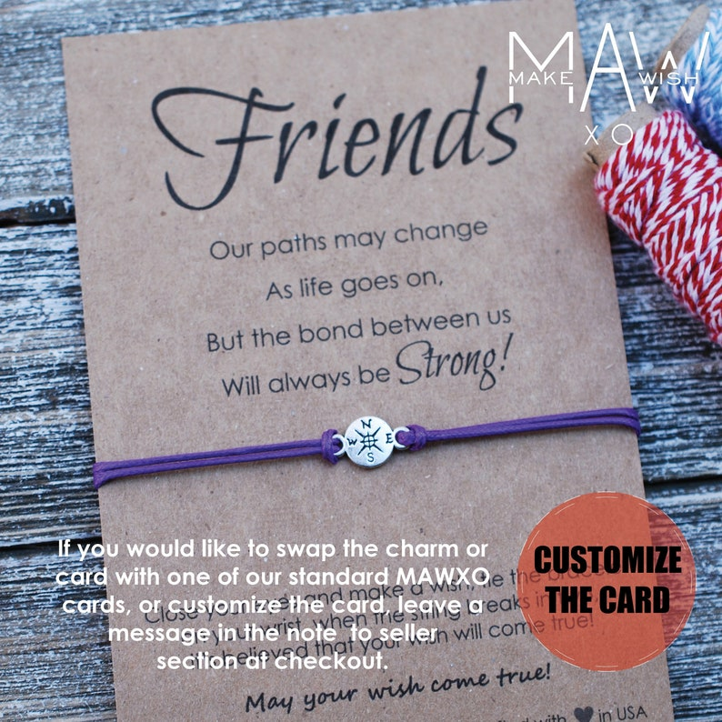 8463981ae2a71 Friendship Bracelet Best Friend Gifts for Friend Long Distance Friendship  Bracelets Compass Bracelet For Him Personalized BFF Gift Bracelet