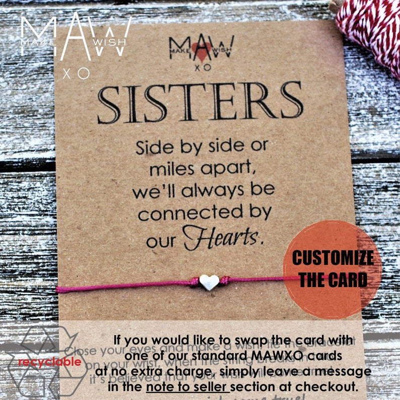 Sister Birthday Gift for Sister Sister Bracelet Long Distance Relationship  Personalized Card For Sister Heart Bracelet Friendship Bracelet