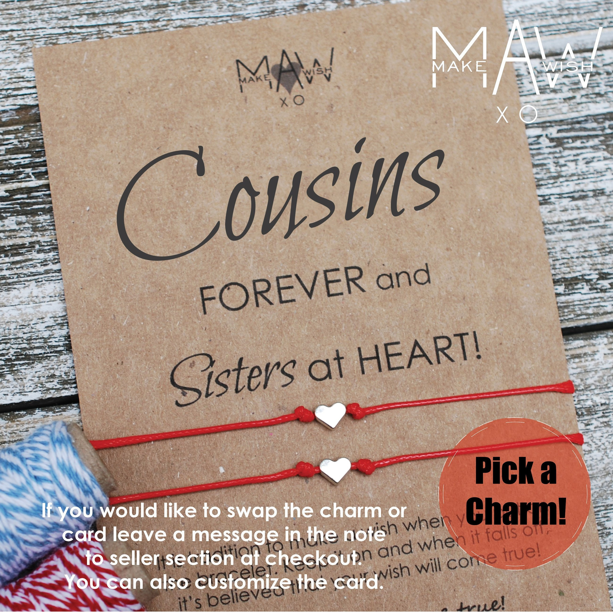 Cousin Gifts Friendship Bracelet Heart Anklet Gift For