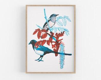 Original Magpie Silkscreen Print for Nursery. Bird Illustration Art Print, Minimal Home Decor. Magpie Screen Print.