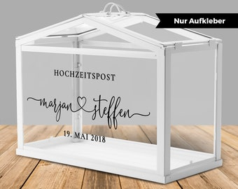 """Stickers for wedding post box / greenhouse for money gifts and cards for wedding """"heart"""", personalized"""