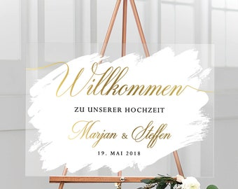 """Welcome sign for the wedding """"M&S"""" personalized with name and wedding date made of acrylic glass with white background, German inscription"""