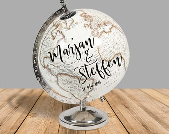 Guestbook Globe / Globe Personalized for Wedding, White/Silver