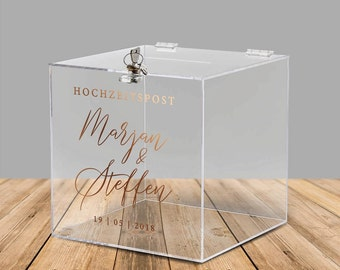 """Acrylic box for cash gifts and cards for the wedding """"Aaliyah"""", personalized - with lock"""