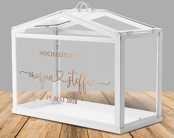 """Wedding post box / greenhouse for money gifts and cards to the wedding """"heart"""", personalized"""