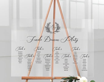 Seating plan for the wedding personalized with your desired names made of acrylic glass, landscape format