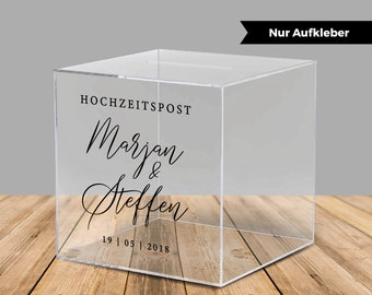"""Sticker for acrylic box for money gifts and cards for wedding """"Aaliyah"""", personalized"""