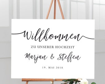 Welcome sign for the wedding stretched on canvas, personalized with name and wedding date, German caption