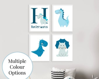 Customised Dinosaur Baby Name Print, Dino Nursery Decor, Nursery Wall Art, Baby Animal Prints, Boys Room, A3, A4