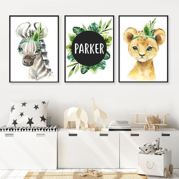 Personalized Baby Gift Safari Animal Name Print Set of 3 African Animal Prints for Nursery
