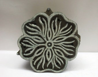 2018-RD-1 Round Shaped 5.2cm Indian Hand Carved Wooden Printing Block Stamp
