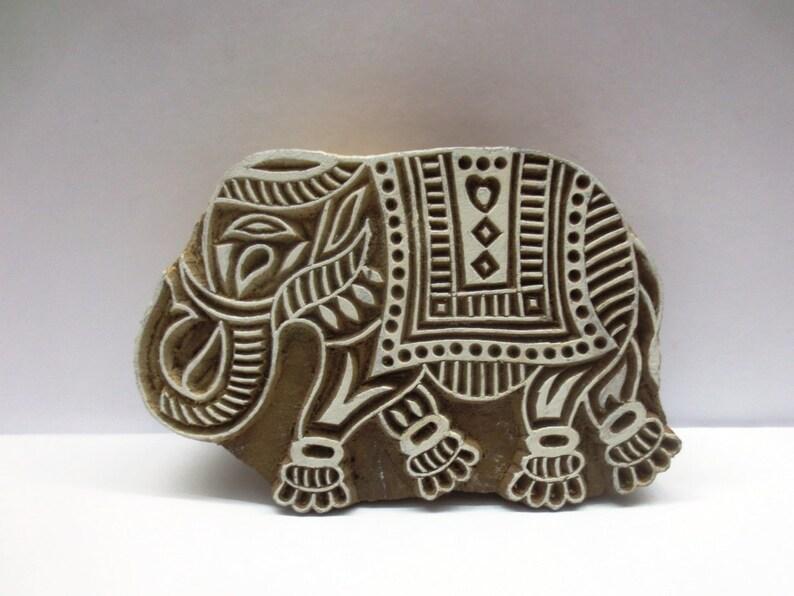 Elephant Wood Block Hand Carved Brown Printing Block Textile Stamp