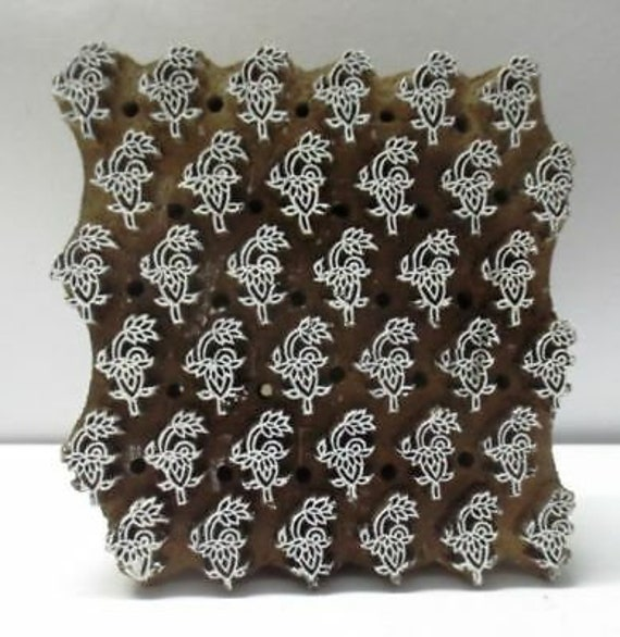 Wooden Hand Carved Textile Printer Fabric Block Stamp Vintage Print Pattern