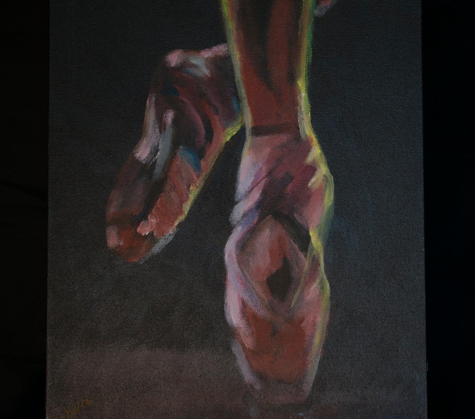 ballet shoes, ballet, ballerina, dancing, dancer, ballet slippers, dance, ballet painting, tip toe, acrylic painting