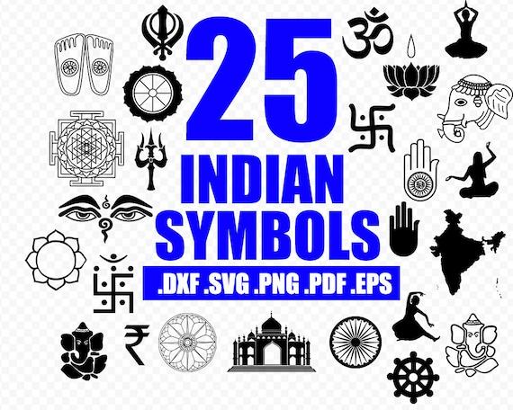 Vector Indian Symbols Most Of Them Religion Hindu Buddhist Etsy