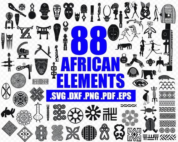African Symbols Svg Dxf Png Pdf Eps Monogram Black Vector Clip Art Images For Cut Files Or Prints