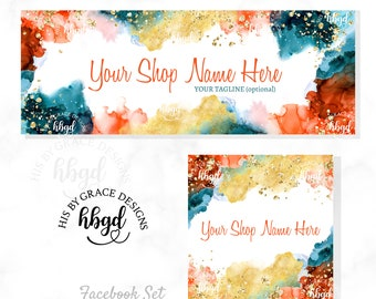 Etsy Banner Etsy Shop Banner Facebook Cover Branding Set Watercolor Logo Alcohol Ink Freestyle