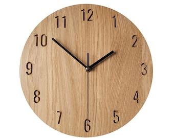 Minimalist Clock, Modern Clock, Natural Oak Wood Clock,  Wall Clock, 28 cm 11'', Wooden Wall Clock, Modern Wall Clock, Silent Clock
