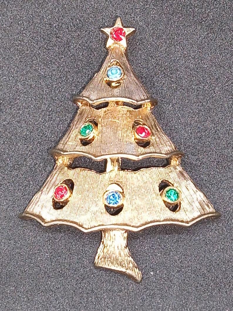 1467c9f9b Vintage signed JJ Jonet Jewelry Christmas Tree Pin | Etsy